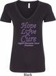 Pancreatic Cancer Tee Hope Love Cure Ladies V-Neck