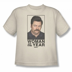 Parks And Recreation Shirt Kids Woman Of The Year Cream T-Shirt