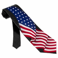 Patriotic Necktie Flag Flying High Mens Black Silk Tie