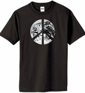 PEACE EARTH Sign Symbol 100% Organic Cotton Adult T-shirt - Black