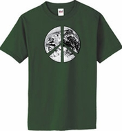 PEACE EARTH Sign Symbol 100% Organic Cotton Adult T-shirt - City Green