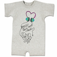 Peace Love And Music Funny Baby Romper Grey Infant Babies Creeper