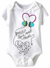 Peace Love And Music Funny Baby Romper White Infant Babies Creeper