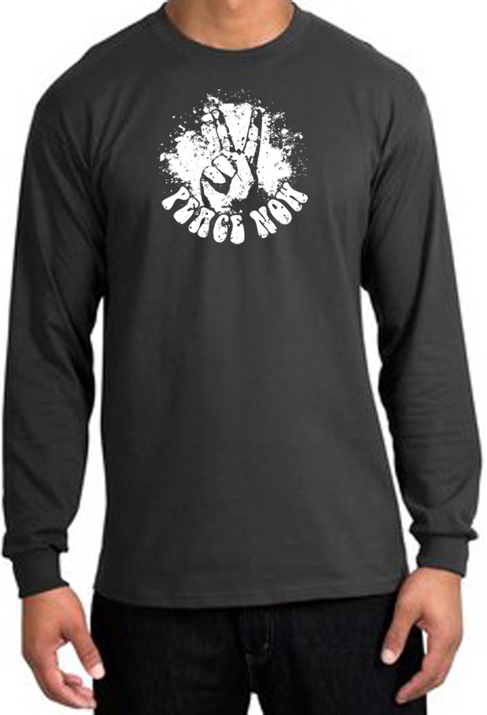 Peace shirt peace now retro long sleeve tee charcoal for Retro long sleeve t shirts