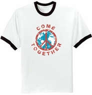 Peace Sign Ringer T-shirts - Come Together Symbol Adult Shirts
