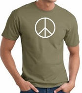 Peace Sign Shirt Basic Peace White Print Tee Army Green