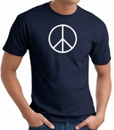 Peace Sign Shirt Basic Peace White Print Tee Navy