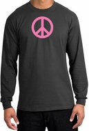 Peace Sign Shirt Pink Peace Long Sleeve Shirt Charcoal