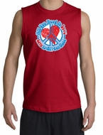 Peace Sign Shooter T-shirt - All You Need Is Love Adult Cut Off - Red