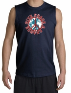 Peace Sign Shooter T-Shirt - Give Peace A Chance Cut Off Navy Shirt