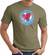 Peace Sign T-shirt - All You Need Is Love Adult Tee - Army Green
