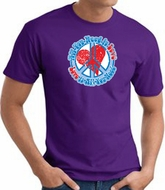 Peace Sign T-shirt - All You Need Is Love Adult Tee - Purple