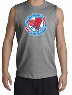 Peace Sign T-shirt All You Need Is Love Muscle Shirt Sport Grey