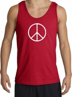 Peace Sign Tank Top Basic Peace White Print Tanktop Red