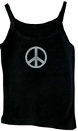 Peace Sign Washed Adult Women Black Tanktop Tank