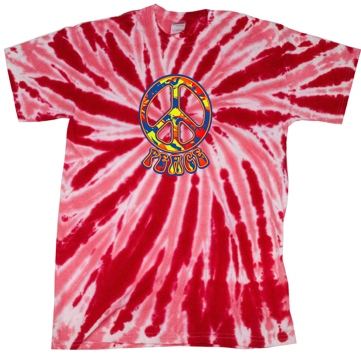 Peace tie dye t shirt funky peace red twist tie dye for How to dye a shirt red