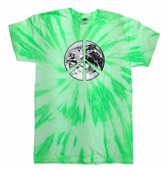 Peace Tie Dye T-shirt Peace Earth Neon Kiwi Twist Tie Dye
