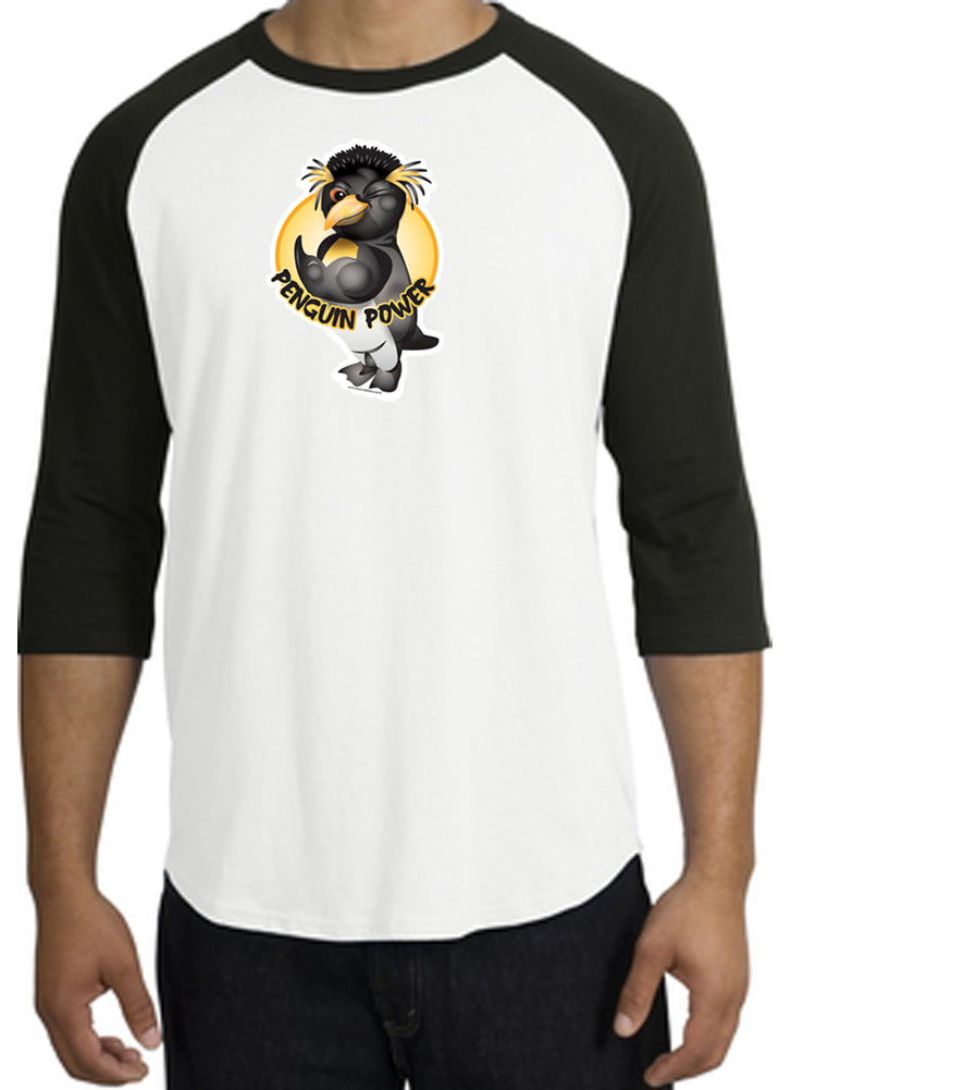 Penguin power athletic gym workout adult raglan t shirt for White dress workout shirt