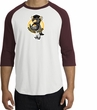 PENGUIN POWER Athletic Gym Workout Adult Raglan T-shirt - White/Maroon