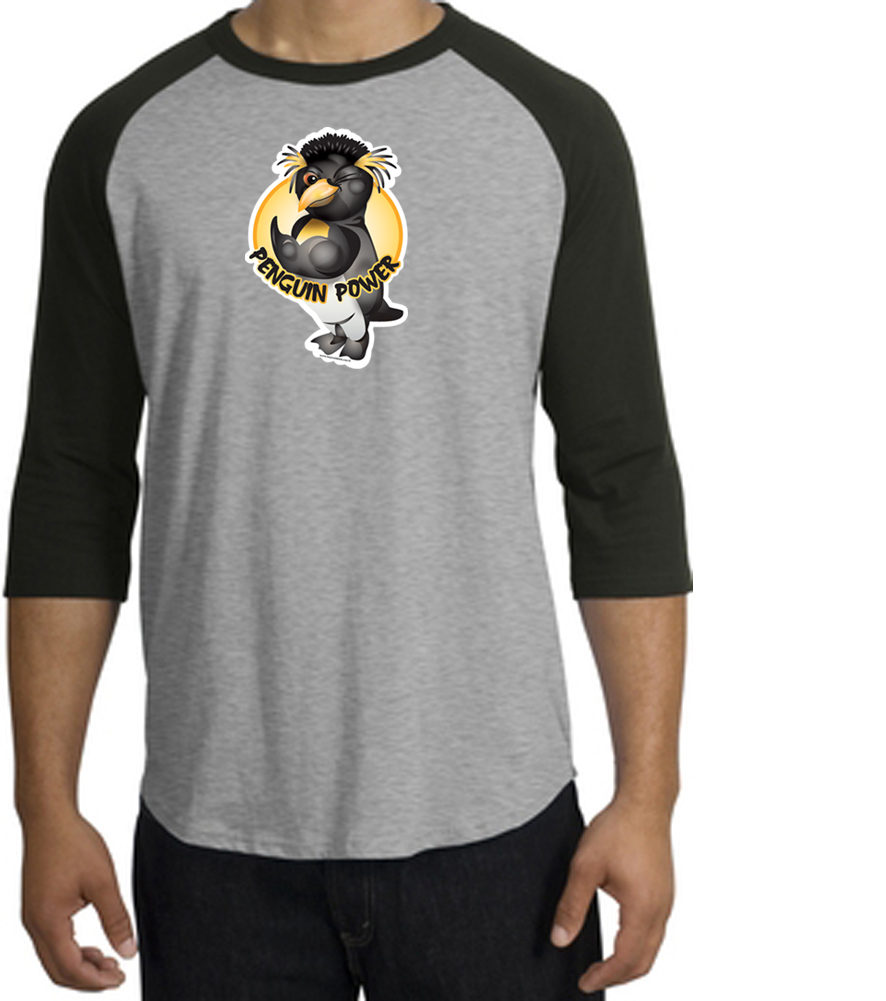 Penguin power shirt athletic gym workout raglan tee for Design your own workout shirt