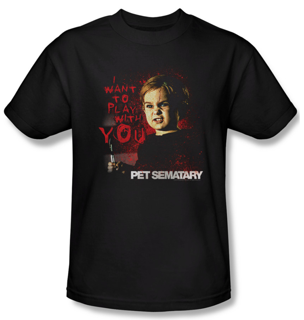 Pet Sematary Shirt I Want To Play Adult Black Tee T Shirt