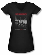 Pet Sematary Shirt Juniors V Neck Cat Poster Black Tee T-Shirt