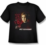 Pet Sematary Shirt Kids I Want To Play Black Youth Tee T-Shirt