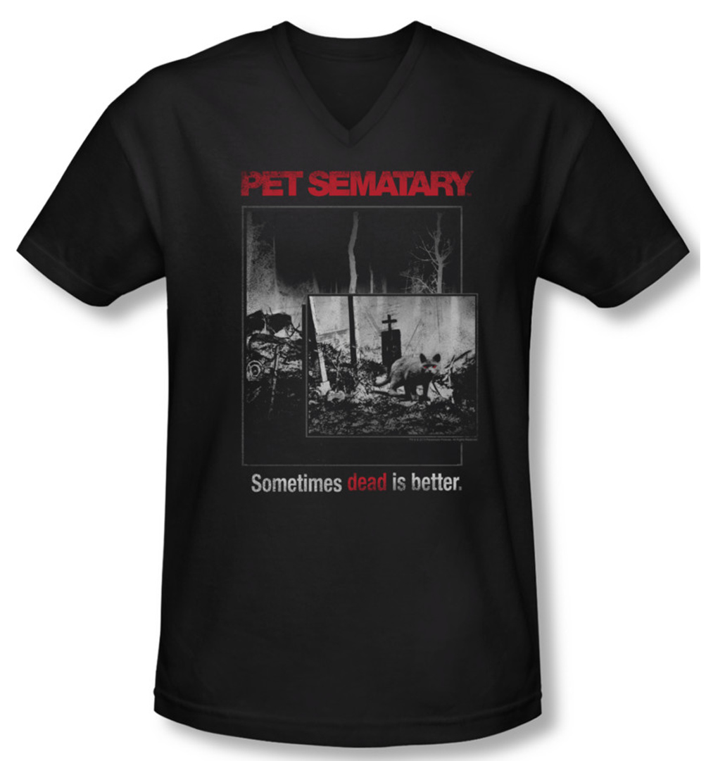 Pet Sematary Shirt Slim Fit V Neck Cat Poster Black Tee T