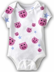 Pig Heads Funny Baby Romper White Infant Babies Creeper