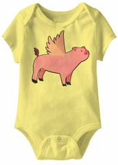 Pigs Will Fly Funny Baby Romper Yellow Infant Babies Creeper
