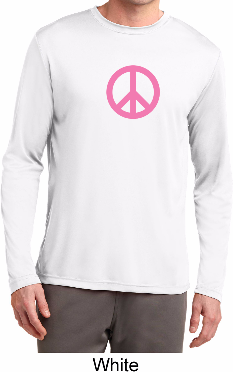 Pink peace mens dry wicking long sleeve shirt pink peace for Mens pink long sleeve shirt
