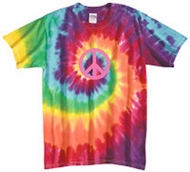 Pink Peace Retro Swirl Tie Dye Adult Unisex Size T-shirt Tee Shirt