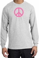 PINK PEACE World Peace Sign Symbol Adult Long Sleeve T-shirt - Ash