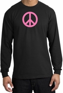 PINK PEACE World Peace Sign Symbol Adult Long Sleeve T-shirt - Black