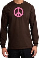 PINK PEACE World Peace Sign Symbol Adult Long Sleeve T-shirt - Brown