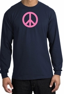PINK PEACE World Peace Sign Symbol Adult Long Sleeve T-shirt - Navy