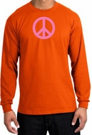 PINK PEACE World Peace Sign Symbol Adult Long Sleeve T-shirt - Orange