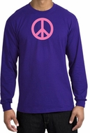 PINK PEACE World Peace Sign Symbol Adult Long Sleeve T-shirt - Purple