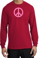 PINK PEACE World Peace Sign Symbol Adult Long Sleeve T-shirt - Red