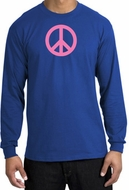 PINK PEACE World Peace Sign Symbol Adult Long Sleeve T-shirt - Royal