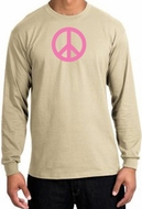 PINK PEACE World Peace Sign Symbol Adult Long Sleeve T-shirt - Sand