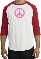 PINK PEACE World Peace Sign Symbol Adult Raglan T-shirt - White/Red