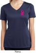 Pink Ribbon Pin Pocket Print Ladies Moisture Wicking V-neck Shirt