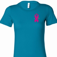 Pink Ribbon Pin Pocket Print Ladies Shirts