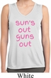 Pink Suns Out Guns Out Ladies Sleeveless Moisture Wicking Shirt