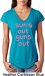 Pink Suns Out Guns Out Ladies Tri Blend V-Neck Shirt