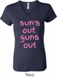 Pink Suns Out Guns Out Ladies V-neck Shirt