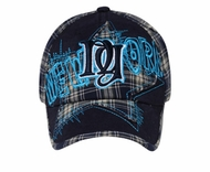 Plaid New York Design Hat - Lackpard Star Cap - Navy