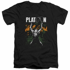 Platoon Slim Fit V-Neck Shirt Graphic Black T-Shirt