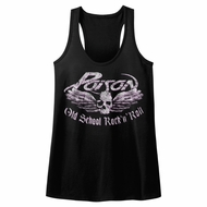 Poison Juniors Tank Top Old School Rock N Roll Black Racerback